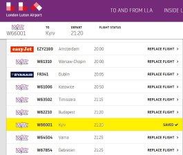 Kyiv on the website of London Luton Airport. Screenshot: twitter/UkrEmbLondon