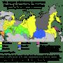 The largest ethnic group apart from Russians by federal subject (according to 2010 population census). Darker shade indicates that in federal subject Russians aren't the largest ethnic group. Percentages were calculated excluding population of subordinated autonomous okrugs (Nenets AO for Arkhangelsk oblast, Khanty-Mansi AO and Yamalo-Nenets AO for Tyumen oblast). Legend: yellow - Ukrainians, lawn green - Tatars, green - Kazakhs, orange - Armenians, blue - Buryats, gray-blue - Germans, pink - Koreans, grey - titular nation of the federal subject (i.e. Karels, Komis, Nenets, Adyghe, Karachays, Kabardays, Ossetians, Ingushs, Chechens, Avars, Kalmyks, Mordvins, Chuvashs, Maris, Udmurts, Bashkirs, Altays, Khakas, Tuvans, Sakha or Chukchis). Image: Wikipedia