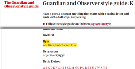 Kyiv in the Guardian's style guide.