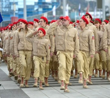 """Local troops of Putin's Youth Army on parade in the city of Sochi, 2017. The Russian Defense Ministry founded the """"Youth Army"""" troops for children from 8 to 18 years old in 2016. (Photo: privetsochi.ru)"""