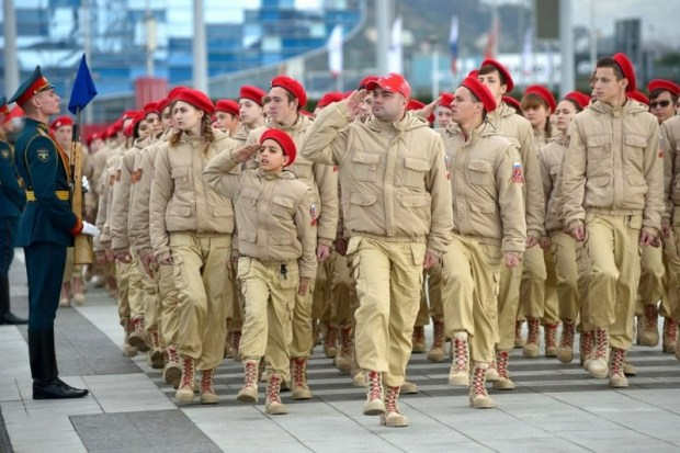 "Local troops of Putin's Youth Army on parade in the city of Sochi, 2017. The Russian Defense Ministry founded the ""Youth Army"" troops for children from 8 to 18 years old in 2016. (Photo: privetsochi.ru)"