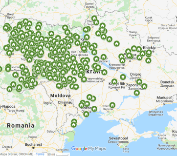 The Ukrainian map of 506 parishes that changed their allegiance from the Moscow Patriarchate to the OCU as of March 31, 2019. (Image: Google Maps)