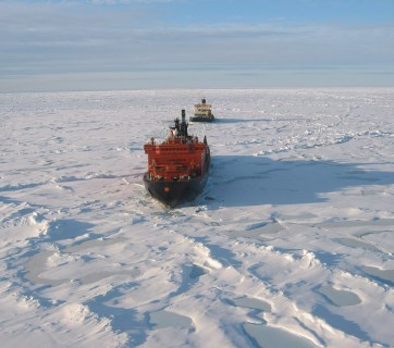 A Russian nuclear-powered icebreaker intended to clear path for trade ships following the Northern Sea Route through the Arctic.