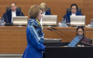 Olena Zerkal, Deputy Minister of Foreign Affairs of Ukraine, making a statement in the courtroom of the International Tribunal for the Law of the Sea (Photo: itlos.org)