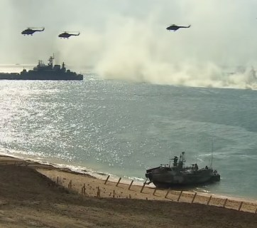 Russian large-scale military drills in occupied Crimea. Fall 2016. Screenshot: CNN