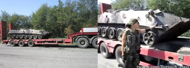 Left, photograph of the low-loader truck from 26 August 2014. Right, screenshot from footage of the same low-loader truck filmed on the same day. Source: bellingcat