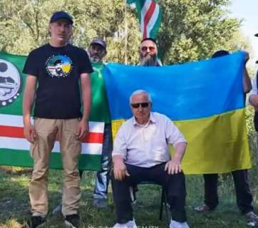 Chechen activists carrying Chechen, Ukrainian, Turkish, German and American flags have been marching from Strasbourg to Geneva to attract attention to the Chechen cause and seek justice and the rule of law for their nation. August 15, 2019. Photo: thechechenpress.com