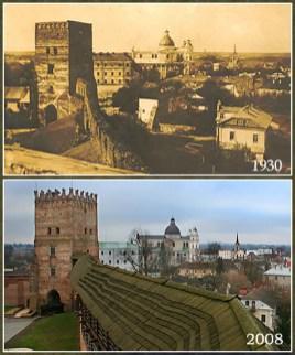 Lutsk Castle in 1930 and 2008. Collage: Oleksandr Kotys/Wikimedia Commons