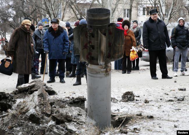 Краматорск, 10 февраля 2015 года. В результате ракетного обстрела города со стороны российских гибридных сил тогда погибли 15 человек и 15 были ранены