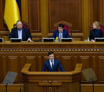 President Volodymyr Zelenskyy delivering a speech from the rostrum of the Verkhovna Rada. Kyiv, 4 March 2019. Photo: president.gov.ua