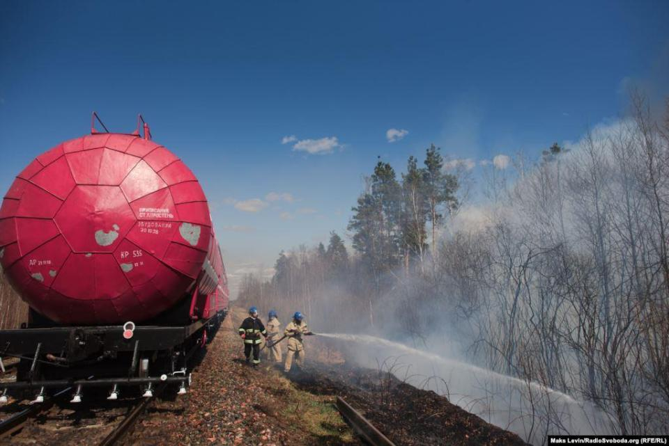 Fire train from Korosten, it is used for refueling by fire trucks operating in the forest and directly for extinguishing the fire near the railway track