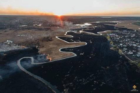 Wildfire n Chystyliv Bird Reserve, Zakarpattia Oblast. Photo: DSNS