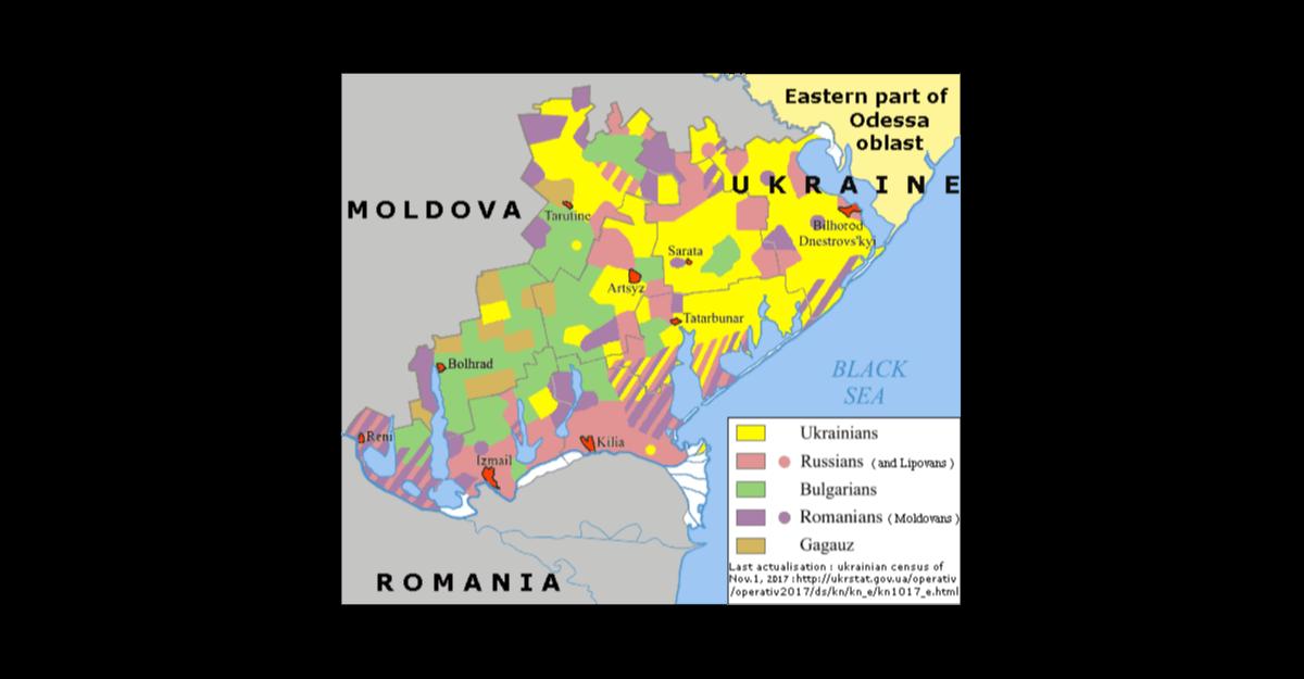 Harta lingvistică a părții de vest a regiunii Odesa (provincia) din Ucraina (Sursa: Wikipedia)