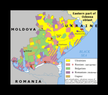 Language map of the western part of the Odesa Oblast (province) of Ukraine (Source: Wikipedia)