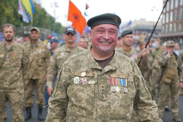 During the March of the Defenders of Ukraine, organized as a parallel Independence Day celebration event. Photo: pravda.com.ua
