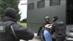 Servicemen of the private military company Wagner Group, a unit of Russian military intelligence (fka GRU) posing as a private military company used to conduct combat operations abroad as part of Russia's hybrid warfare, arrested by Belarus Security Forces. Photo: Belarus-1 (screenshot)