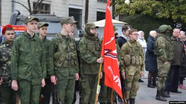 A Russian paramilitary organization for youth in Sevastopol, April 19, 2020. Photo: Krymr.org (RFE/RL)