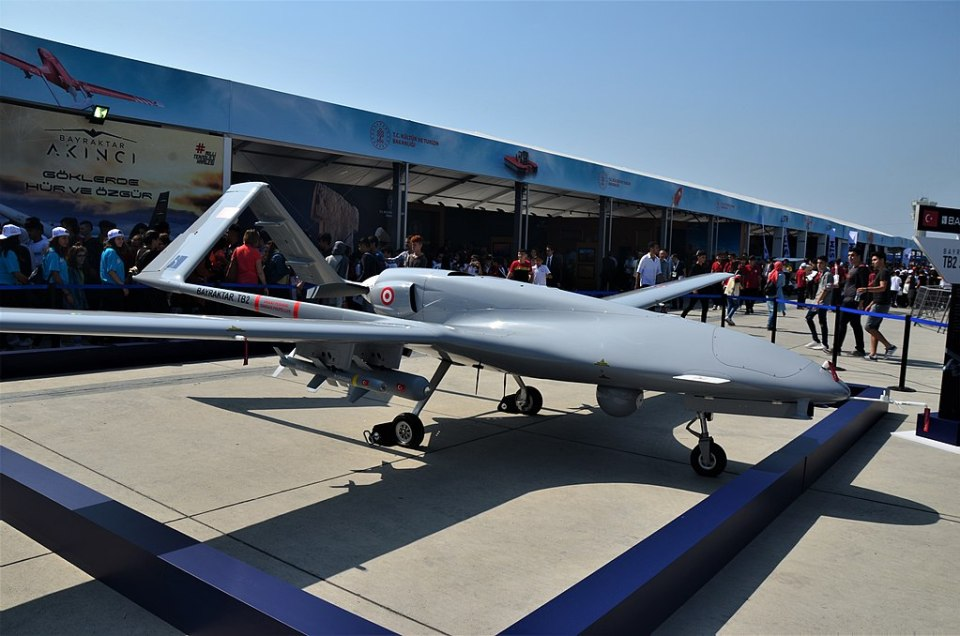 Turkey's Bayraktar TB2 combat UAV at Teknofest 2019 (Source: CeeGee via Wikimedia.org)