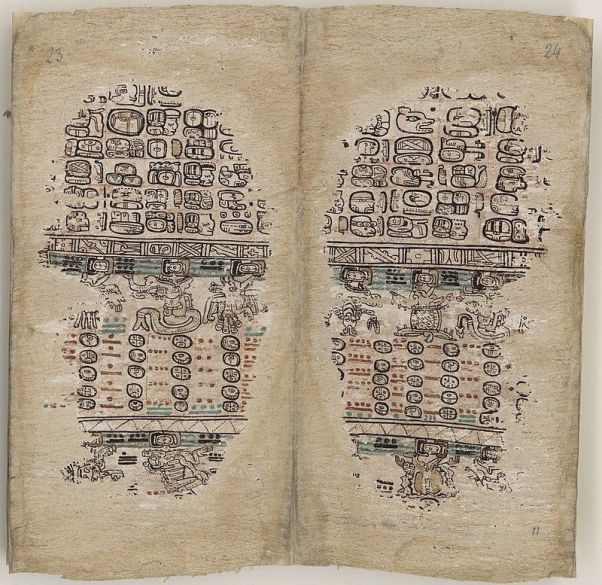 The final two pages of the Paris Codex, showing the Maya zodiac. Source: Bibliothèque Nacionale de France via Wikimedia Commons