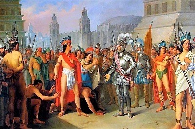 Representación del encuentro de Hernan Cortes con Moctezuma