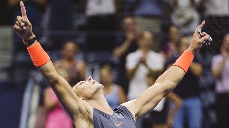 Rafa Nadal celebrando la victoria frente a Dominic Thiem