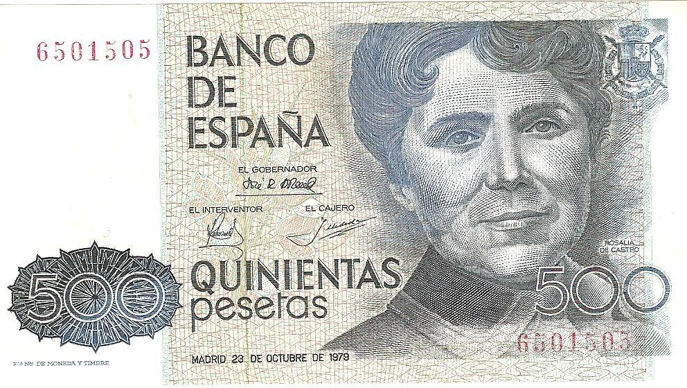 Rosalia de Castro (Santiago de Compostela, 1837 — Padron 1885) en el billete de 500 pesetas