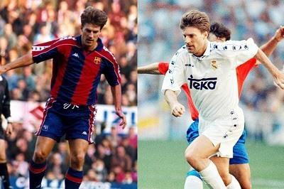 Michael Laudup con la camiseta del Real Madrid y del Barcelona