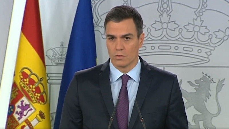 Pedro Sanchez, esta manana en La Moncloa.