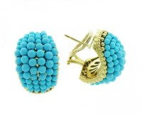 14K yellow gold Turquoise earrings EJER18100T