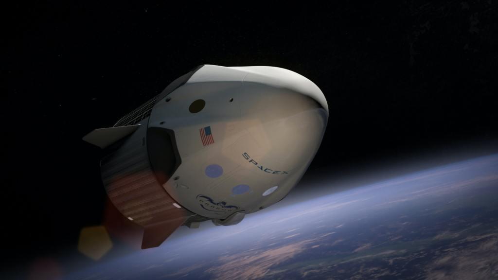 Rymdraket, Space X, i rymden (bild).