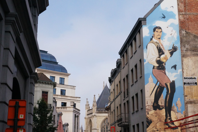 A building in Brussels with a comic book character