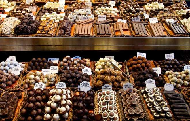 Packages of delicious Belgian chocolate