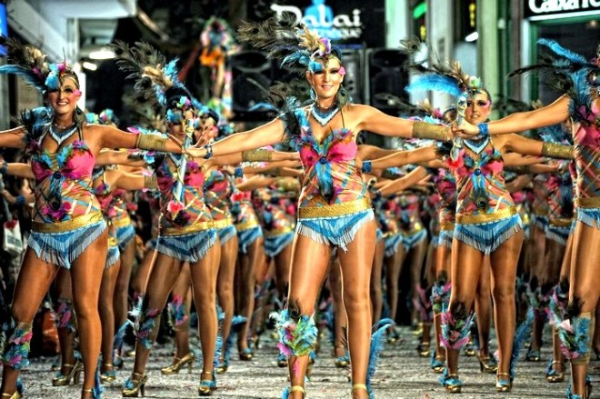 Women dancing in Sitges carnival parade