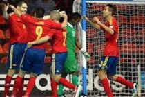 Los jugadores de la selección celebran un gol. Foto: E.P.