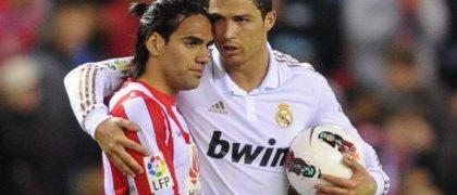 Radamel Falcao, durante su paso por el Atlético de Madrid, y Cristiano Ronaldo (foto tomada de la web)