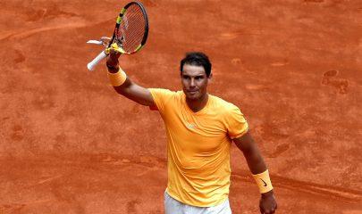 GRAF2847. MADRID, 09/05/2018.- El tenista español Rafa Nadal celebra su victoria ante el francés Gael Monfils, en el partido de segunda ronda del Mutua Madrid Open que se ha disputado en la Caja Mágica. EFE/Juanjo Martín