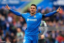 GETAFE, SPAIN - DECEMBER 15: Jorge Molina of Getafe CF celebrates after scoring his team's first goal during the La Liga match between Getafe CF and Real Sociedad at Coliseum Alfonso Perez on December 15, 2018 in Getafe, Spain. (Photo by Quality Sport Images/Getty Images)