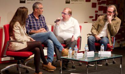 Apertura Semana de la Comunicación 2019. de Izq-drch: Claudia Fesser, Javier Fesser, José de Luna, Fernando Ávila. Foto: Maite González.