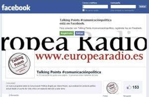 Imagen del muro de Facebook del programa de Europea radio Talking Points, dirigido por Alana Moceri