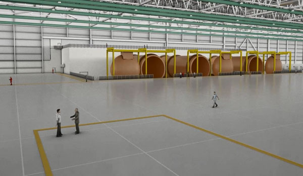 Artist's rendering of the interior of the new wing center. The facility will house three of the largest autoclaves in the world