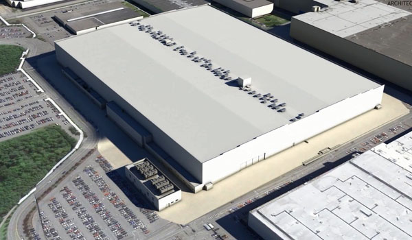 Artist's rendering of the exterior of the wing center
