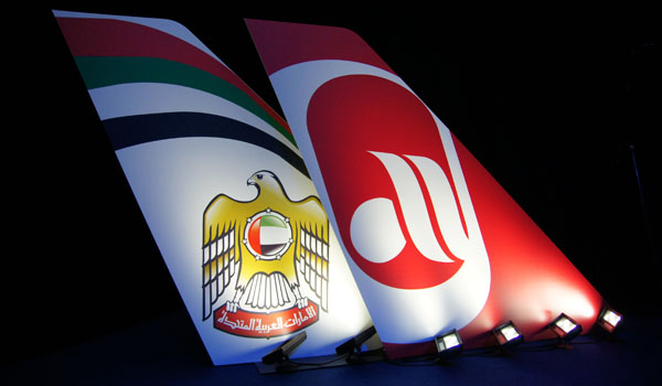Tails of Etihad and Air Berlin during a press conference