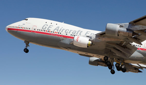 CFM's LEAP engine takes off on a modified 747 flying testbed