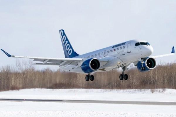 Bombardier CS100 FTV5 took off to the skies (© Bombardier Aerospace)