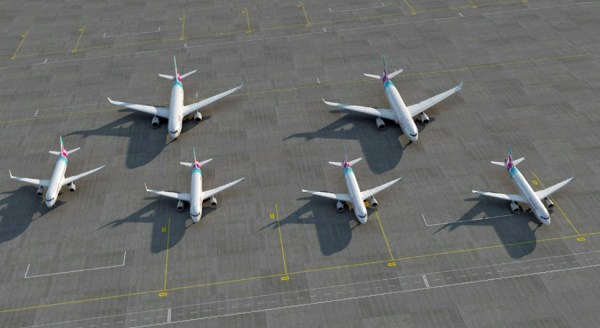 Artist impression of the initial Eurowings fleet (© Lufthansa)