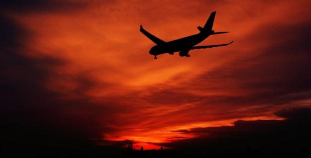 Sunset and Aircraft