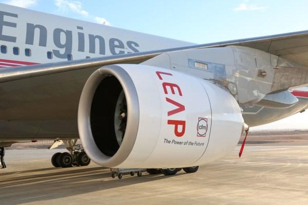 CFM LEAP engine on a 747 testbed (© CFM)