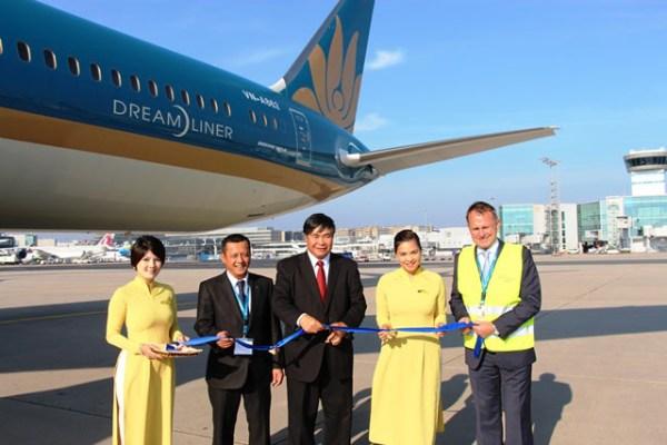 Begrüßung des 787-9 Dreamliner in Frankfurt (© Vietnam Airlines)
