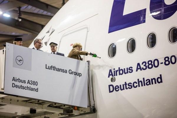 Taufe eines A380 auf den Namen 'Deutschland' durch Angela Merkel (© Lufthansa)
