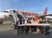 Begrüßung des ersten easyJet-Flugs am Bodensee Airport Friedrichshafen